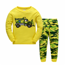 2017 New Children Fashion Long Sleeve Sets Boys Cartoon Car Long Sleeve+Camouflage Pant Two-piece Boy Casual Family Clothing Set