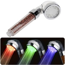 LED Shower Head Temperature Control Three-color Anion Hand Held Bath Filter Bathroom Fixture