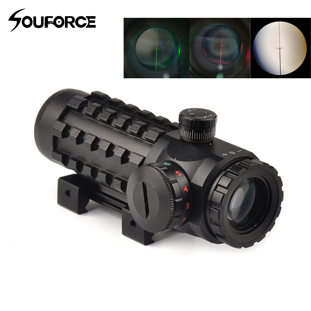 4x28 Optical Sight Scope Red/Green Reticle Riflescope Sight Multi-coated Fit 20 mm/11mm Rail Base for Hunting Riflescopes<br>