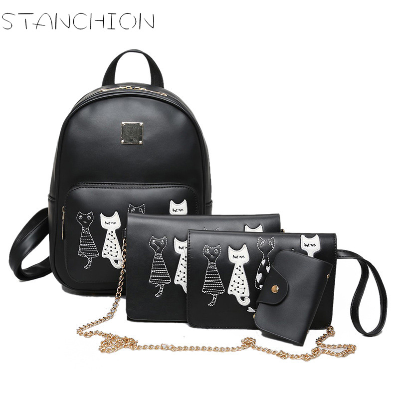 STANCHION Faux Leather Backpack for Women Cute Cats Dogs Causal 4Pcs School Bags For Teenager Girls<br>