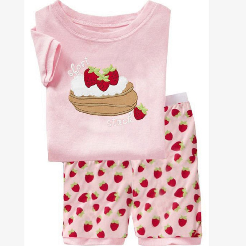 Pink Strawberry Cake Baby Girls Clothes Suit Summer T-Shirts Shorts Pants 100% Cotton Toddler Pajamas Home Clothing Hot Sale(China (Mainland))
