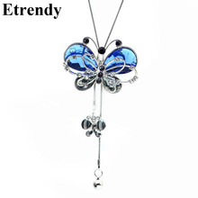 Blue Crystal Butterfly Necklace Women Long Necklaces & Pendants New Fashion Jewelry Wholesale(China)