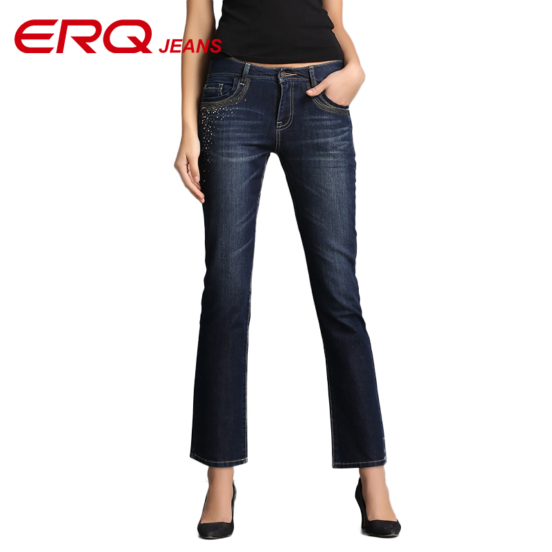 ERQ Women Jeans Femme Slim Straight High Waist Cotton Plus Size Denim Jeans Womens Pants For Women Jeans Cintura 902003Îäåæäà è àêñåññóàðû<br><br>