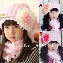 1pc/lot  Girl Fashion Lovely Big Lace Flower Bowknot Cap Children's Baby Hat Princess Headgear Free shipping
