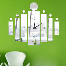 Luxury 3D Mirror Silver Wall Clock Modern Design Home Decor Watch Wall Sticker pegatinas home decor living room #XTT