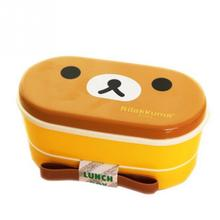 Cartoon Rilakkuma Bear 2 Layer Lunchbox Bento Lunch set Japanese Style box Sets Microwave Food Container