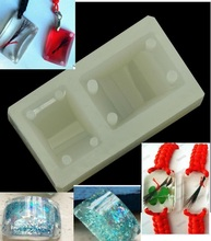 Rectangle Cabochon Silicon 4 Holes Mold Mould Epoxy Resin Jewelry Pendant Bracelet Making resin molds for jewelry(China)