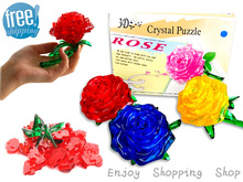 DIY 3d puzzle crystal rose 4 colors Cheap Puzzles learning & education kids jigsaw toys for children brinquedos educativos