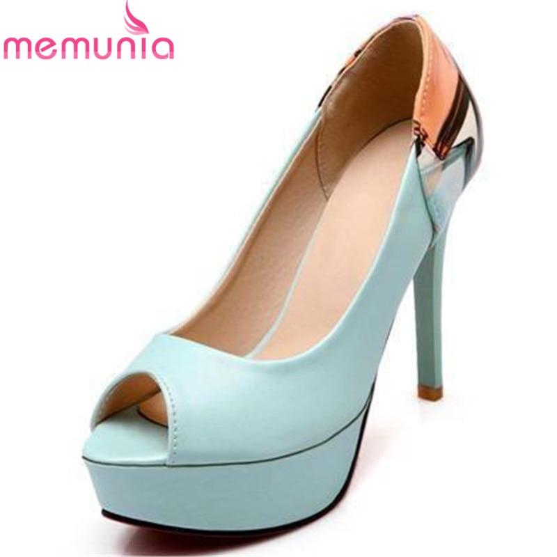 2015 New fashion soft leather peep toe women pumps platform shoes  high heels wedding shoes<br><br>Aliexpress
