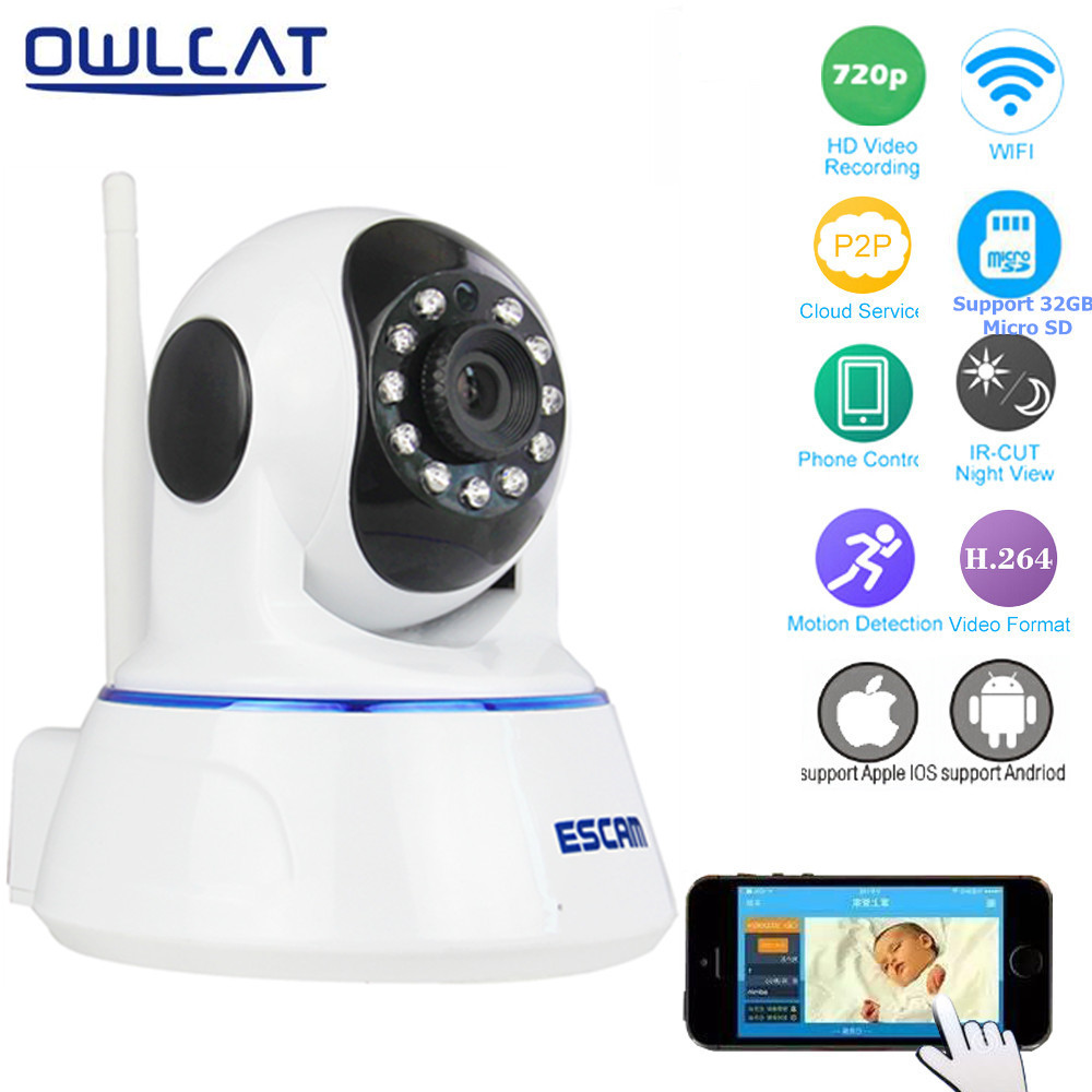 Escam QF002 HD 720P Wireless IP Camera Day Night Vision P2P WIFI Indoor Infrared Security Surveillance CCTV Mini Dome Camera<br>