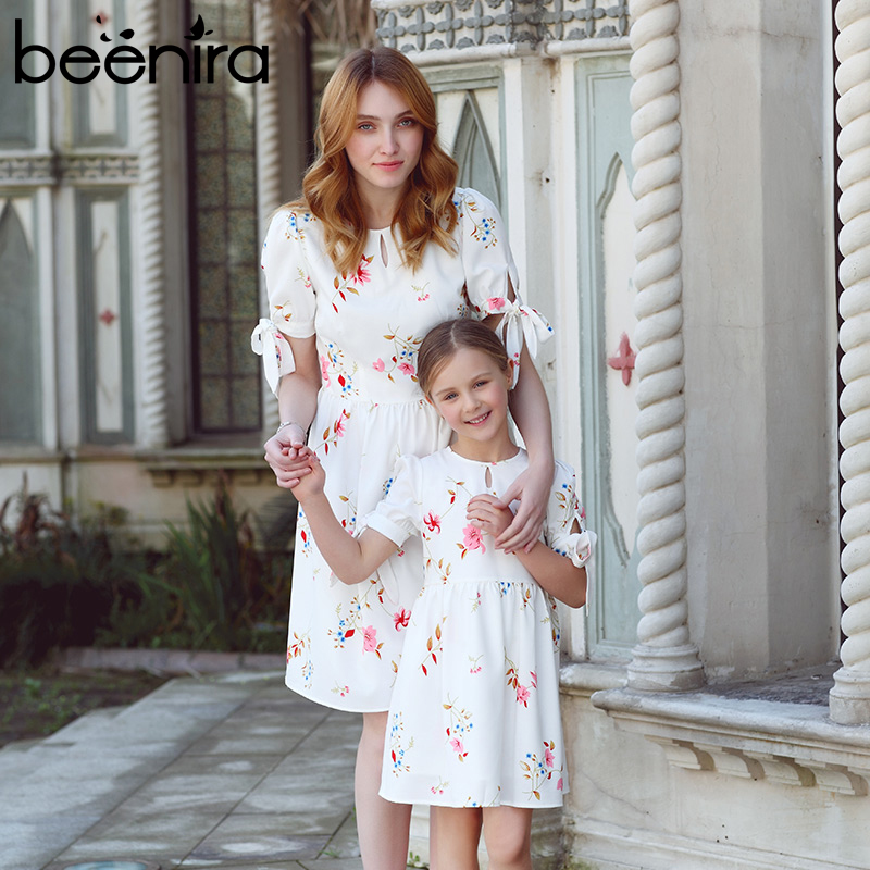 Beenira 2017 New Family Dresses Flower Pattern European And American Style Princess Dress Design For Mother + Baby Summer Dress<br>