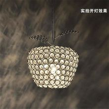 New Creative Crystal Apple Pendant Lamp Gold Lampshade Abajur Restaurant Hanglamp Light E27 Home Decor 110V 220V Modern Lighting(China)