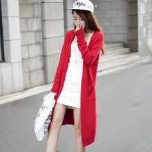 2017 Cardigan Women Sweater Long Capes Cashmere Knitted Oversized Fashion Autumn Winter Clothing Long Coat with Pockets 61766