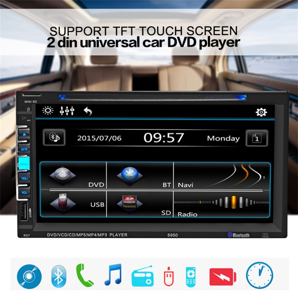 Cimiva 6.95 Inch 2 Din Universial Car Mp5 Player HD Digital Touch Screen USB Mp3 Bluetooth Hands Free Call Car Radio Mp5 Player<br><br>Aliexpress