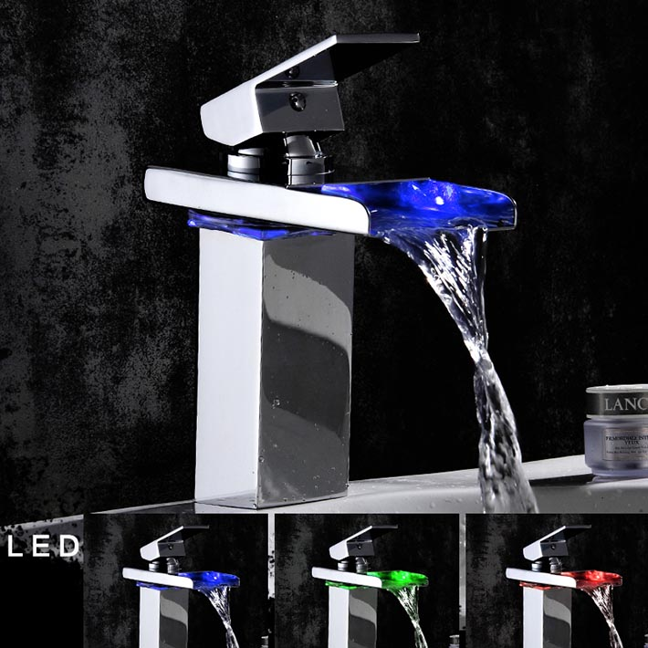 LED 3 Color changing water power  Single Hole Waterfall Faucet Bathroom Basin Brass Mixer Tap - Chrome<br><br>Aliexpress