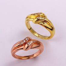 Yellow Gold Rose Gold Plated Rings For Women With 6pcs Round Brilliant Cut CZ Diamonds Gemini Style Engagement Ring