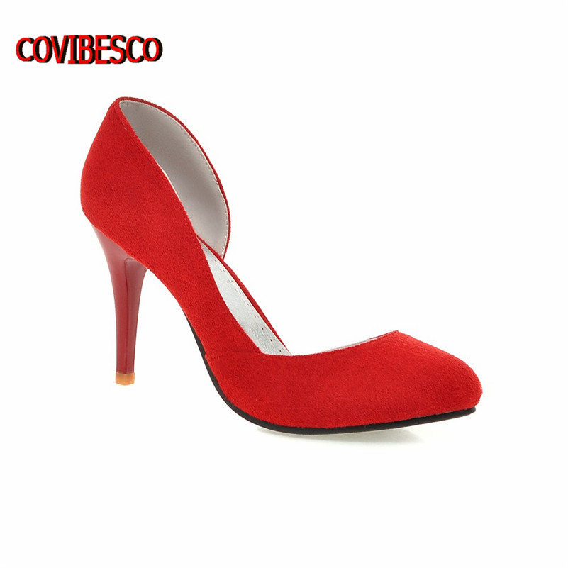 Plus Size 34-43 Pointed Toe Suede Red Bottom 8.5cm High Heels Fashion Sexy High Heel Shoes Women Pumps Party Wedding Shoes<br><br>Aliexpress