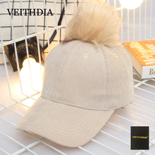 VEITHDIA 2017 autumn and winter corduroy cashmere ball baseball hat pure color light plate Makalon new fashion ladies warm hat(China)