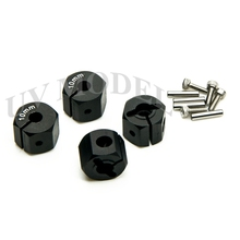 Cool Black 10mm Thickness Hex 12mm Aluminum HEX Wheel Hub Mount and Pins High Quality Alloy Metal