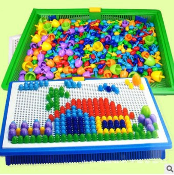 The new 2016 manufacturers selling 296 grains of mushrooms nails flashboard puzzle plastic jigsaw puzzle toys children manual(China (Mainland))
