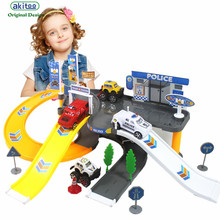 akitoo Kindergarten children multi-storey track assembled parking lot rail car toys large three-dimensional car park toys
