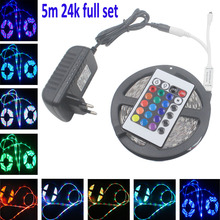 RGB LED Strip light LED light SMD 5050 2835 5m 10m 15m Flexible No Waterproof led tape ribbon IR Remote Controlle dc12V adapter