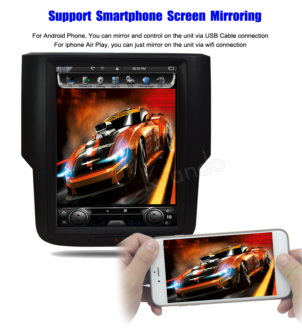 Krando Vertical screen android car radio multimedia for dodge RAM screen navigation with gps system (5)