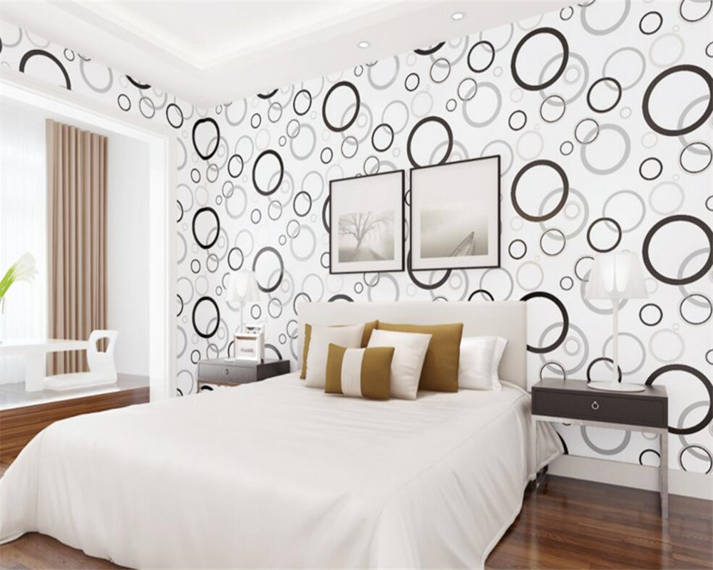 Beibehang 3d cartoon children room black and white circle wallpaper the sitting room the bedroom TV setting 3d wallpaper roll<br>