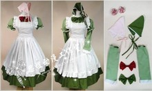 Anime APH Axis Powers Hetalia Hungary Maid Apron Cosplay Costume (one green Dress two kerchief,two bows,two sleeves,two flowers)