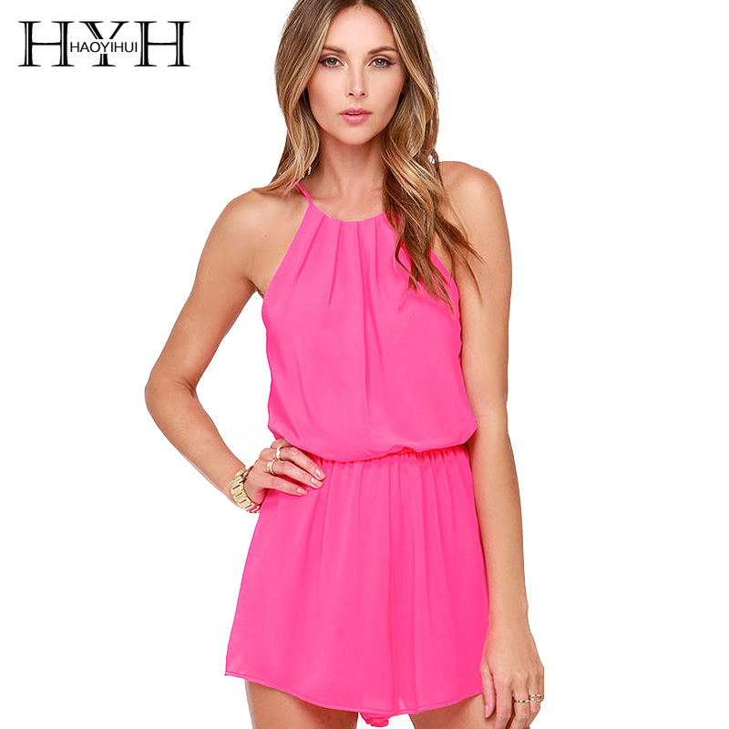 HYH Haoyihui Women Solid Red/Pin/Yellow/Blue/Green Jumpsuits Pleated Rompers Sleeveless O-neck Cold Shoulder tank top Playsuits