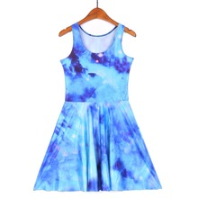 NEW 1207 Sexy Girl Women Summer light Blue Galaxy Star Sky 3D Prints Reversible Sleeveless Skater Pleated Dress Plus size