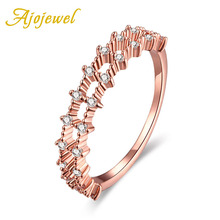 Ajojewel Brand Hollow Out Nail Rings Gold-color Trendy White Cubic Zircon Rings For Women