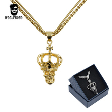 Vintage Double Chain Crown Skull Pendant Gold Necklace Stainless Steel Chain Silver Necklace Fashion Men Jewelry Long Chain Gift(China)