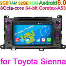 2GB RAM 32GB ROM Android 6.0 Octa Core Radio Audio Stereo Car DVD Player for Toyota Sienna 2009 2010 2012 2013 Vehicle Computer(China)