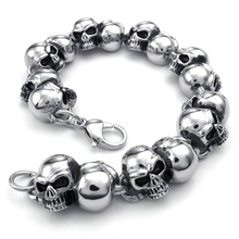 2017 Hot Selling NEW Fashion jewelry Titanium Stainless steel Classic Biker Men's Skull heavy Bracelet/Bangles(China)