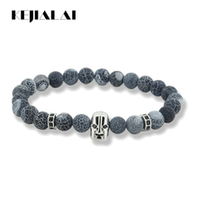 2017 Anil Arjandas Bracelet 8mm Weathering Stone Beads& Black Eyes Warrior Helmet Charm with Two CZ Coppers New Arrival KJL091(China)