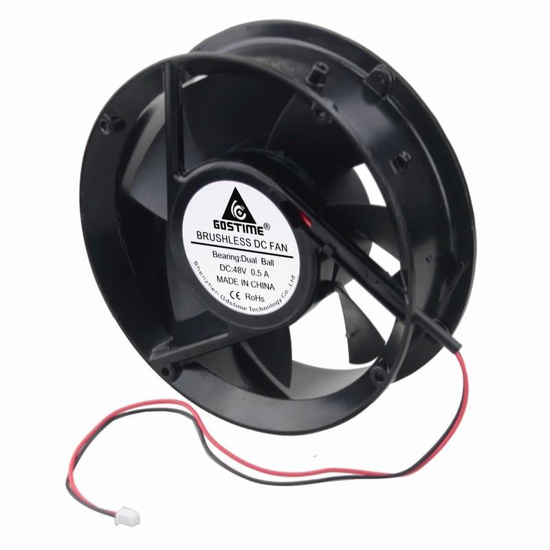 1 pcs Gdstime 48V 170mm x 50mm Metal Case Dual Ball Bearing Industrial DC Cooling Fan 172mm x 51mm Circle Cooler 2P 17cm<br>