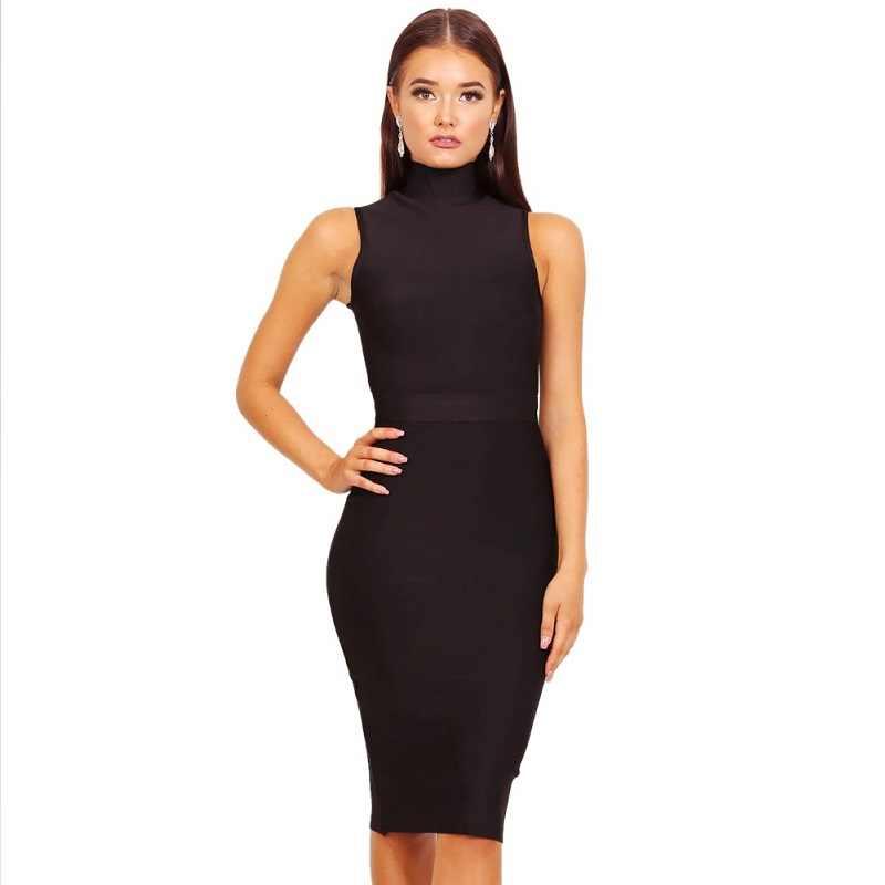BEAUKEY Fashion Turtleneck Bandage Dress 2018 Sexy Bodycon Midi Sleeveless  Vestido Bodycon Bandage Dress Black Red 15f9bf2bd739