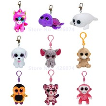 Beanie Big Eyed Unicorn Elephant Teddy Turtle Owl Orangutan Monkey Stuffed Animals Clip Key Chain Kids Plush Toys 8CM(China)