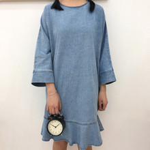 Women dress Batwing Sleeve Loose Slim ~ Denim Wash  Outline Tail Long Dresses Light Blue 611