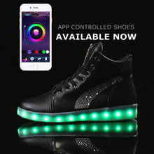 APP control led high top shoes woman casual Flash shoes women flat ligh up Glowing unisex fashion neon basket USB Charge shoes