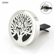 2017 New DIY Fashion Jewelry 35mm Stainless Steel Lif Tree Car Air Aromatherapy/Essential Oil Diffuser Perfume Locket Vent Clip(China)
