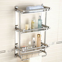 wall mounted bathroom towel rack,stainless steel three layer shelving,double towel bars with hooks,Free Shipping J16397(China)