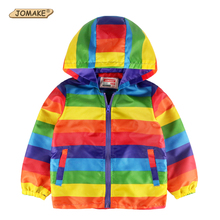 JOMAKE 2017 Brand Kids Clothes Boys Jackets Children Rainbow Windbreaker Toddler Baby Coat Infant Waterproof Hoodies For Girls