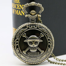 Bronze One Piece Straw Hat Skull Case Design Quartz Fob Pocket Watches with Necklace Chain for Boys Children Reloj de bolsillo(China)