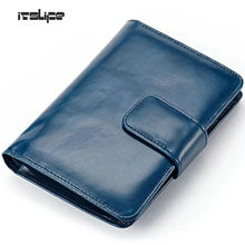 2016 New Women Genuine Leather Wallet Oil Wax Leather Bifold Card Holder Multi-function Purse Medium Hasp Card Holder