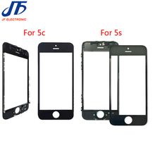 10pcs/lot LCD Front Screen Outer Glass Lens with Bezel Frame For iPhone 5c 5s Outer Screen Panel Replacement free shipping(China)