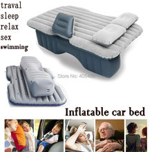 waterproof  hot sale Universal Car Travel Inflatable Mattress Car Inflatable Bed Air Bed Cushion Thickening  floking light gray