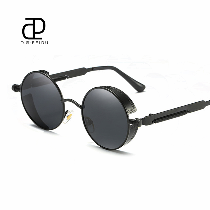 FEIDU Steampunk Round Polarized Sunglasses Men Vintage Retro Eyewear For Women Circle Metal Frame Gafas Oculos De Sol With Box<br><br>Aliexpress