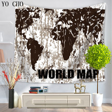 YO CHO Indian Mandala Tapestry Home Decorative Wall Hanging Tapestries Beach Towel Bedspread Table Cloth Wall Tapestry World Map(China)
